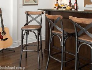 30 Quot Square Wood Back Seat Bar Stool High Chair Kitchen