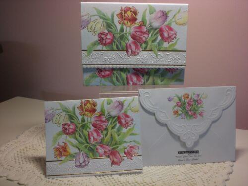 20 Pcs CAROL/'S Rose Garden-Note Carte in Carrying Case-Tulipes