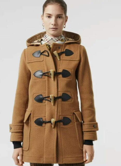 100 Auth Women Burberry Merton Wool Blend Duffle Camel Jacket Coat Us 10