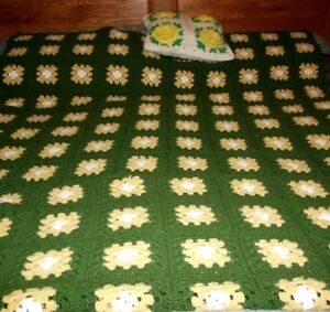 Vintage-hand-crocheted-afghan-blanket-handmade-green-yellow-76-in-X-70-in