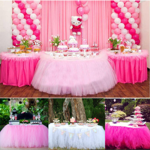 Tulle Table Skirt For Wedding Birthday Party Baby Shower Tableware Home Decor wx