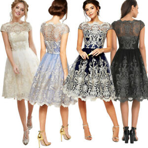 Women-Lace-Prom-Floral-Formal-Evening-Cocktail-Party-Bridesmaids-Ball-Gown-Dress