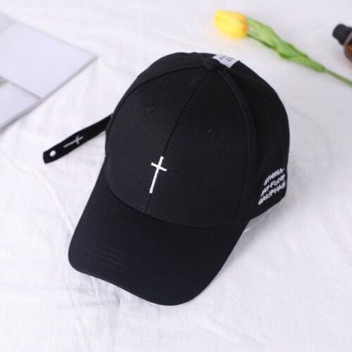 Cross Belt Baseball Cap Black Embroidery Letter Snapback Women Men hat