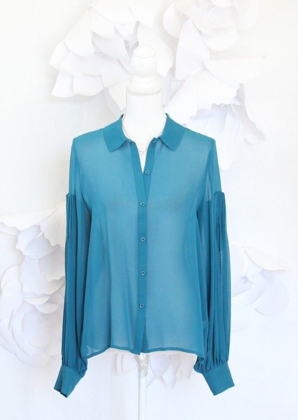 LEITH Pleated Poets Shirt Blouse Top Woherren M Silk Teal Blau LS Career Luxury