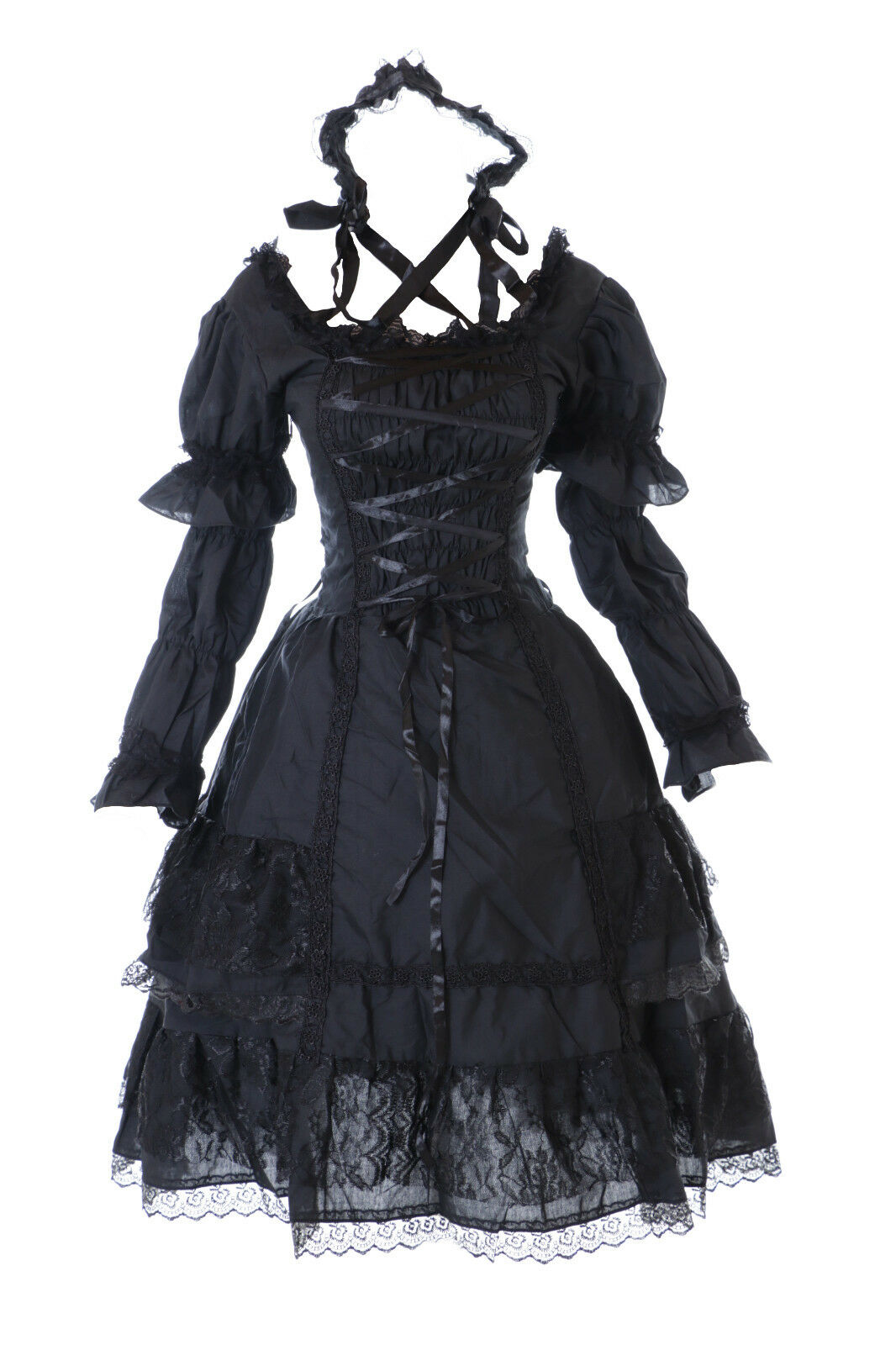 M-3315 gothique lolita dentelle schwarz robe manches amovibles Costume Dress Cosplay