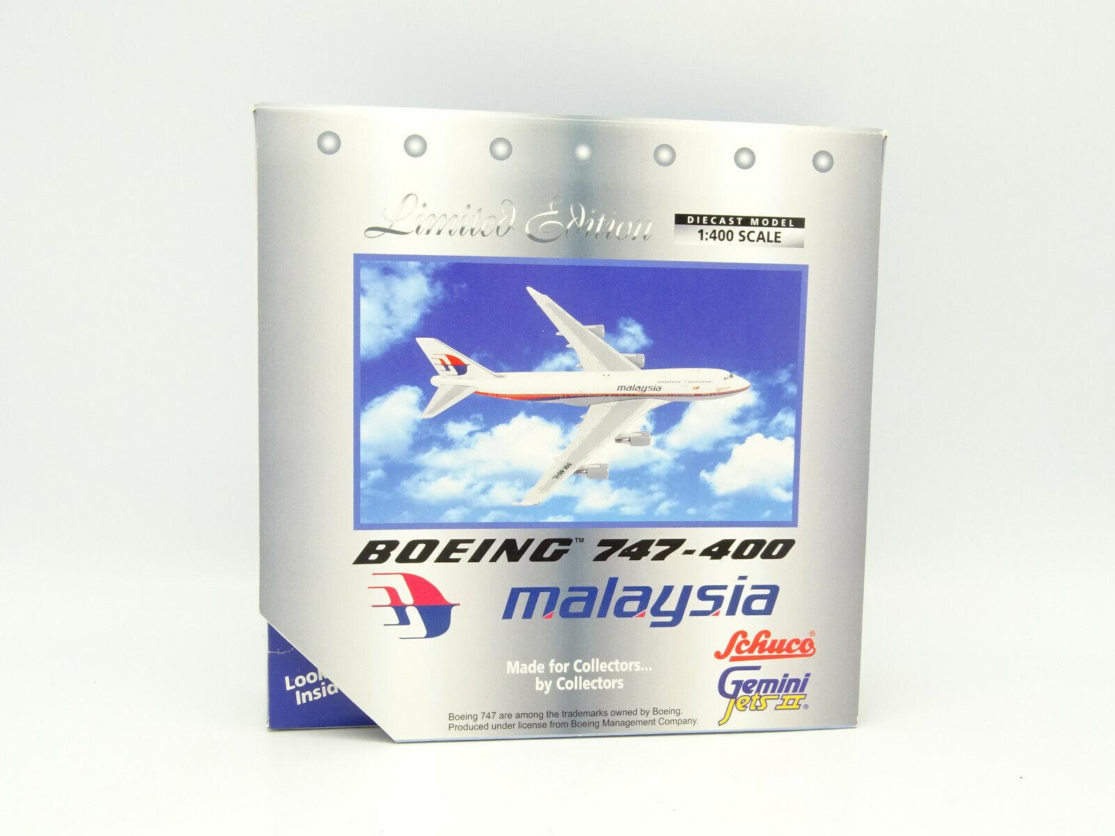 Schuco Gemini Jets 1 400 - Avión Boeing 747 400 Malasia Airlines