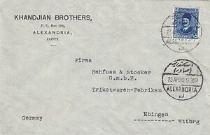 EGYPT 1930 COVER WITH ARMENIAN ADVERTISEMENT 'KHANDJIAN BROTHERS'' TO GERMANY