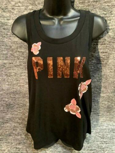 Victoria/'s Secret Pink Bling Floral Tank Top Black Rose Gold Logo S M L