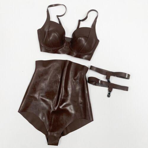 atsuko kudo brown latex bra and brief set with thi