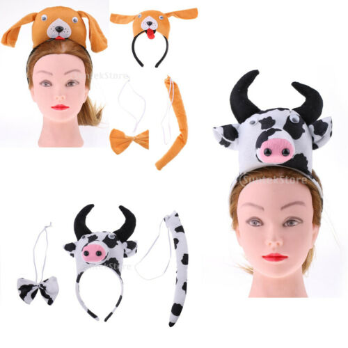 3//set Kids Animals Costume Accessories Headband Tail Tie School Zoo Fancy Party