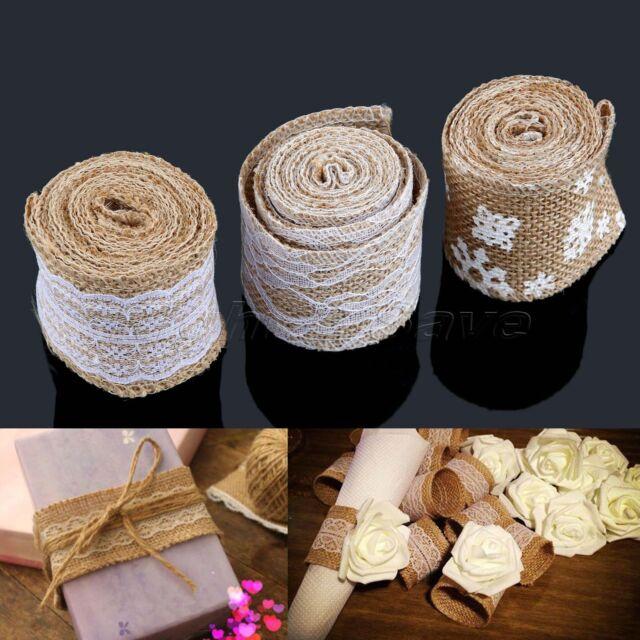 2M Rustic Wedding Decor Natural Jute Hessian Burlap Ribbon Tape Lace 3 Styles