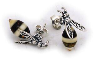 Damen-Ohrringe-Stecker-echt-Bernstein-Silber-925-Biene-Wespe-Insekt-Ohrstecker
