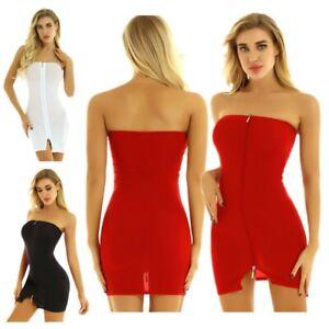 Sexy-Women-039-s-Strapless-Zipper-Bodycon-Dress-Party-Evening-Cocktail-Mini-Dress