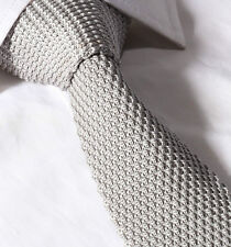 Uomo 6CM Slim A maglia Cravatta - Grigio Argento Waffle Skinny Tessuto