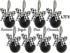 8 Christmas Tree Ornaments Holiday Wreath Decorations Set Lot Vtg Blk White
