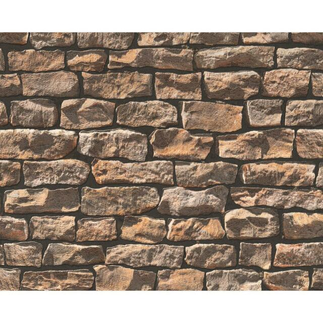 NEW AS CREATION WOOD N STONE RURAL BRICK NATURAL STONE A.S. PHOTO WALLPAPER