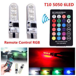 2x-T10-6SMD-5050-RGB-LED-Auto-Wedge-Seitenlicht-Leselampe-amp-FernbedienungDBSD