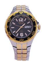 OMAX Men's Gold Silver Metal Black Dial Swiss Wrist Watch Analog Quartz Day Date