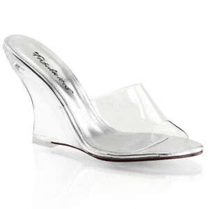 b2a50ff5a7e Fabulicious LOVELY-401 Women s Shoes Clear Slide Open Toe Wedge High ...