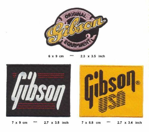 GIBSON Aufnäher Aufbügler Patches 3 Stück Gitarre Les Paul Flying V Firebird USA