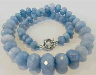 10-18mm Brazilian Aquamarine Faceted Gems Abacus Beads Necklace