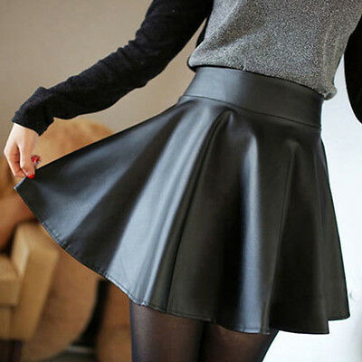 Women Faux Leather High Waist Skater Flared Pleated Short Mini Skirt Salable