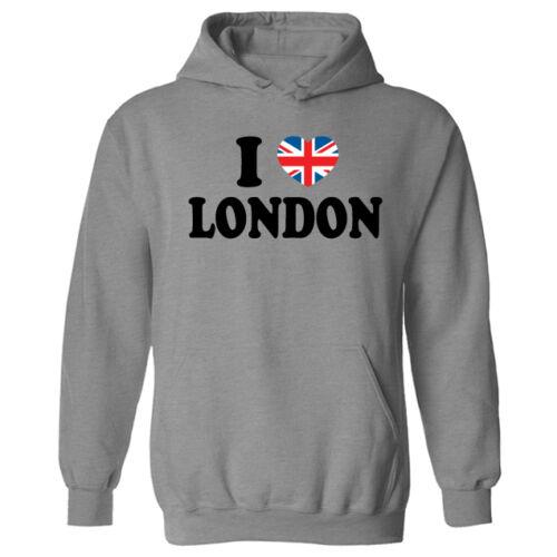 Womens I Love London Union Jack Heart Flag Pullover Hoodie NEW UK 12-20