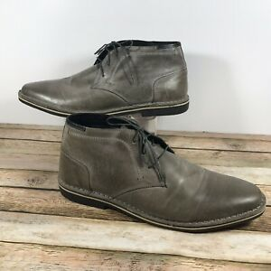 5a7f625d634 Details about Steve Madden Heston Chukka Ankle Boots Men's Sz Size 17 Gray  Leather Lace Up
