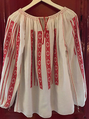 Attento Vintage Antique Romanian Blouse Roumaine Embroidered Cotton Handmade Shirt Folk