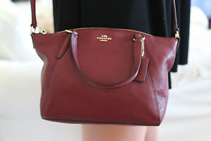 0013d33397bf NWT COACH F 57563 PEBBLE LEATHER MINI KELSEY SATCHEL IN CRIMSON