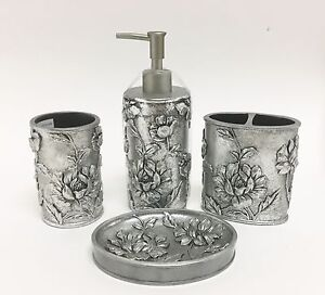 Beau Image Is Loading NEW 4 PC SET 3D SILVER GRAY FLORAL