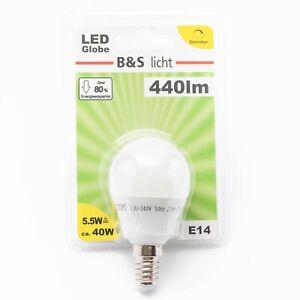 LED-Mini-Globe-E14-5-5W-440lm-dimmbar-Warmweiss-Glastyp-matt