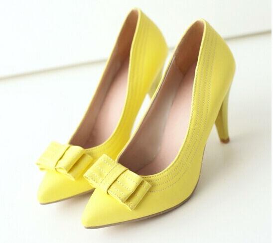 Décollte Zapatos de salón mujer perno talón 9 cm tacón aguja amarillo 8686