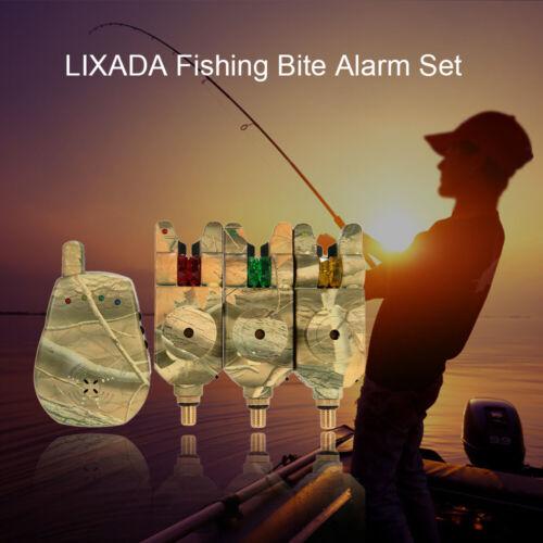 Wireless LED Fishing Alarm Alert Set w//Case 3 Fishing Bite Alarm+1 Receiver N2P4