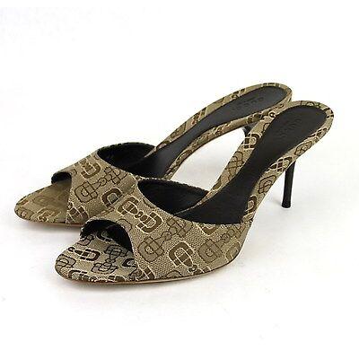 New Authentic GUCCI Horsebit Canvas Slides Sandal, Beige 295093 9742