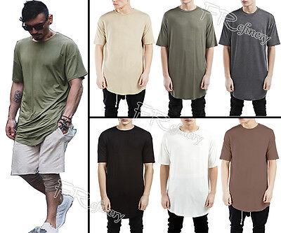 Men's Longline Basic Solid Casual Under Scoop Crew Neck Short Sleeve T-Shirt