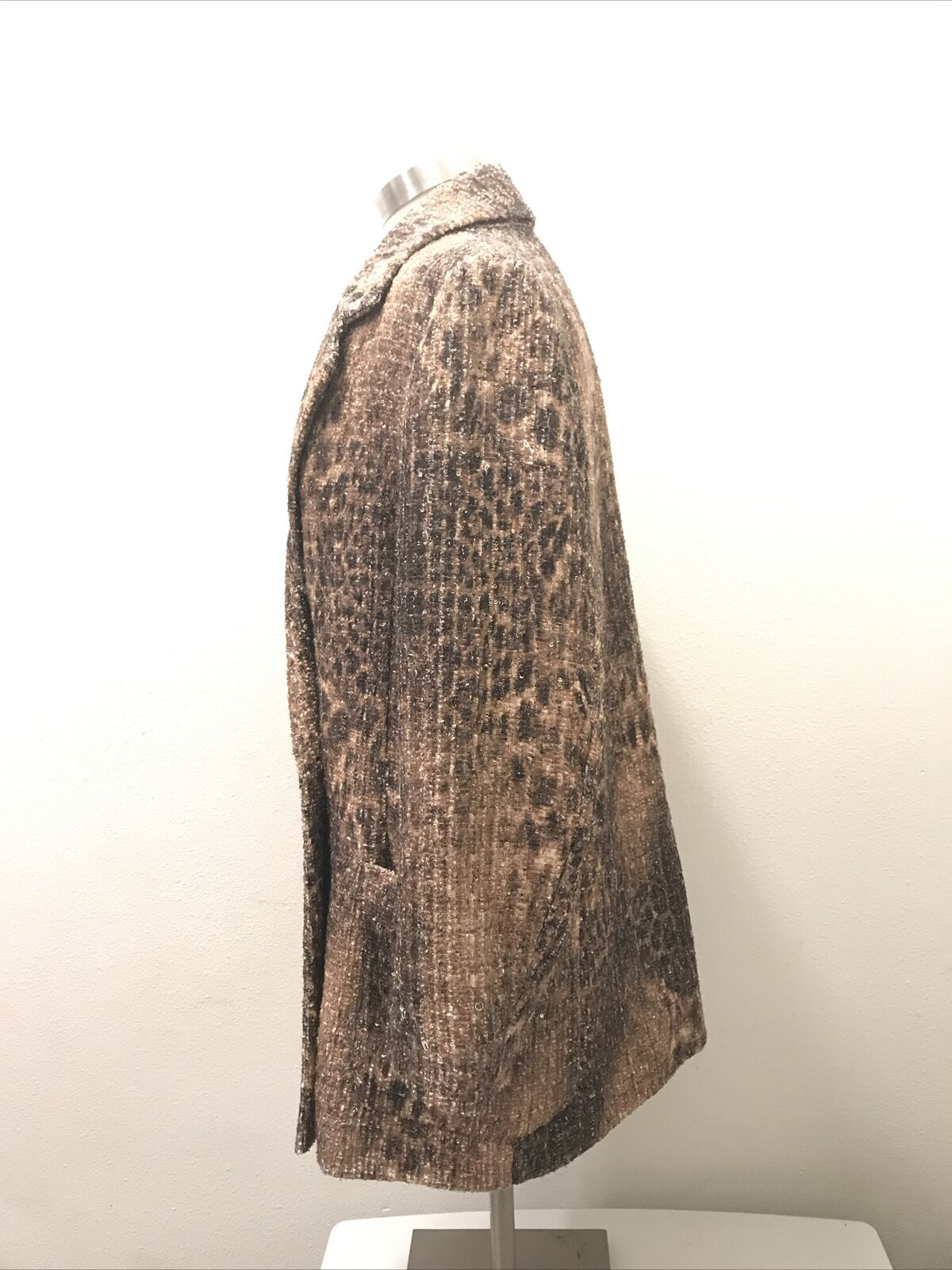 Badgley Mischka Collection Women's Tan Leopard Sequin Double-Breasted Coat NWT