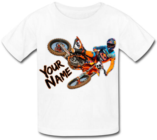 MOTOCROSS ORANGE BIKE PERSONALISED KIDS T-SHIRT NAMED GIFT PRESENT FOR A CHILD