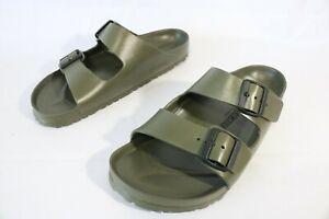 Birkenstock-Mens-Arizona-Eva-Khaki-Green-Two-Straps-Wide-Comfort-Sandals-Sz-10