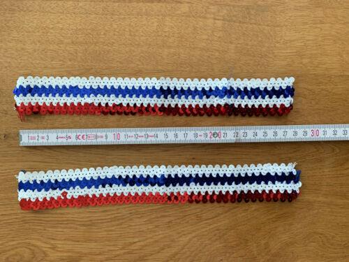 2x lentejuelas banda paillettenborte rojo blanco azul elástico 4cm x 28cm disfraz nuevo