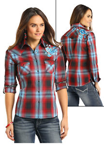 Panhandle-Slim-Women-039-s-Red-amp-Light-Blue-Plaid-Snap-Up-Shirt-R4S7595-SALE