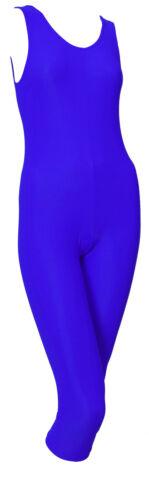 #GEMMA CALF Ballet Colours Catsuit Sleeveless Lycra Plain Front Calf Length
