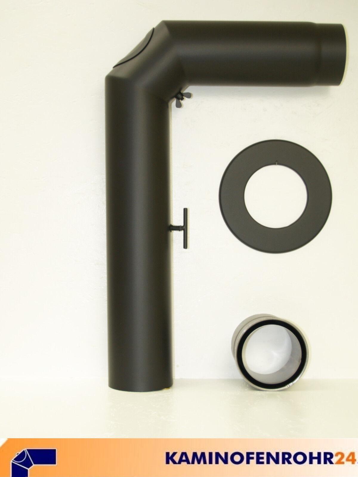 Ofenrohr Rauchrohr Rauchrohrset 3tlg. Set Schwarz 120 mm Ofenrohrset
