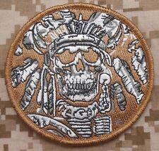 DEATH SKULL WAR CHIEF INDIAN ARMY MILITARY DESERT VELCRO® BRAND FASTENER PATCH