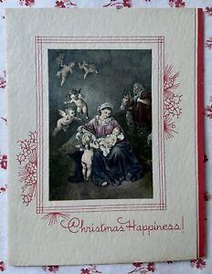 Vintage-1930s-UNUSED-Christmas-Madonna-amp-Child-Angels-Greeting-Card-Art-Litho
