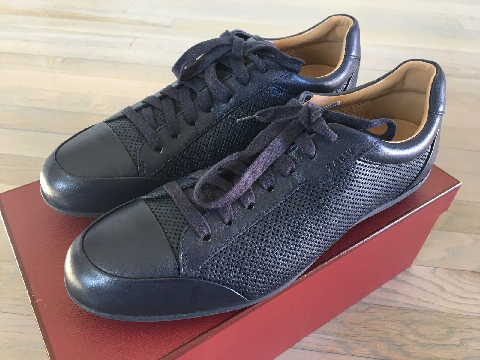 Scarpe casual da uomo  600$ Bally Navy Blue Hayo Perforated Leather Sneakers size US 12
