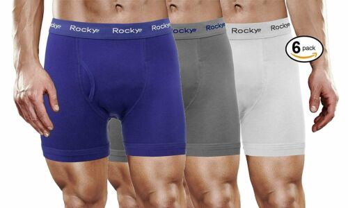 Rocky Men/'s 6 Pack Cotton Classic Boxer Briefs Soft Knitted Stretch Boxers