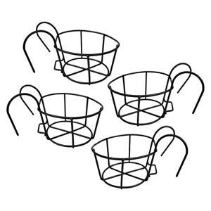 4Pcs Wall Hanging Metal Basket Flower Planter Pot Holder for Balcony Patio Black