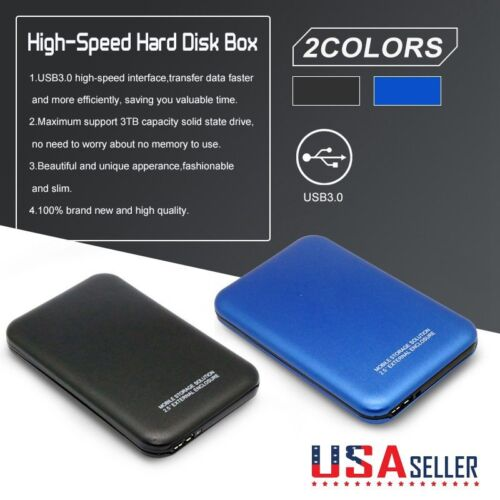External Backup Hard Drive Support 3000GB 3TB USB 3//2.0 Case Enclosure 2.5 HDD