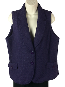 Womens Coldwater Creek Vest Size L Large Dark Purple Two Button Two Pocket